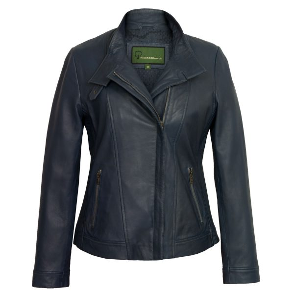 Ladies blue leather jacket elsie