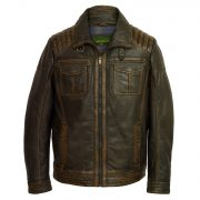 Men's Black Antique Leather Jacket: Jenson