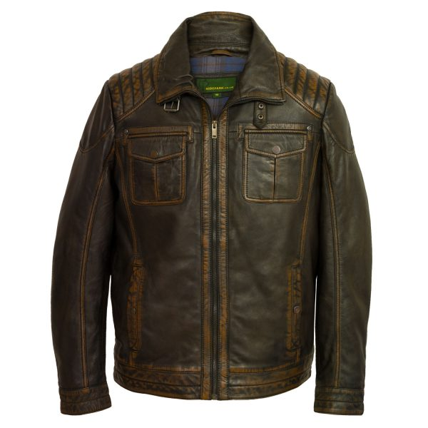 Mens black antique leather jacket Jenson