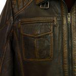 Mens black antique leather jacket pocket detail Jenson