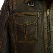 Mens black antique leather jacket pocket detail Jenson
