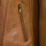 Womens Tan leather jacket Elesie pocket detail