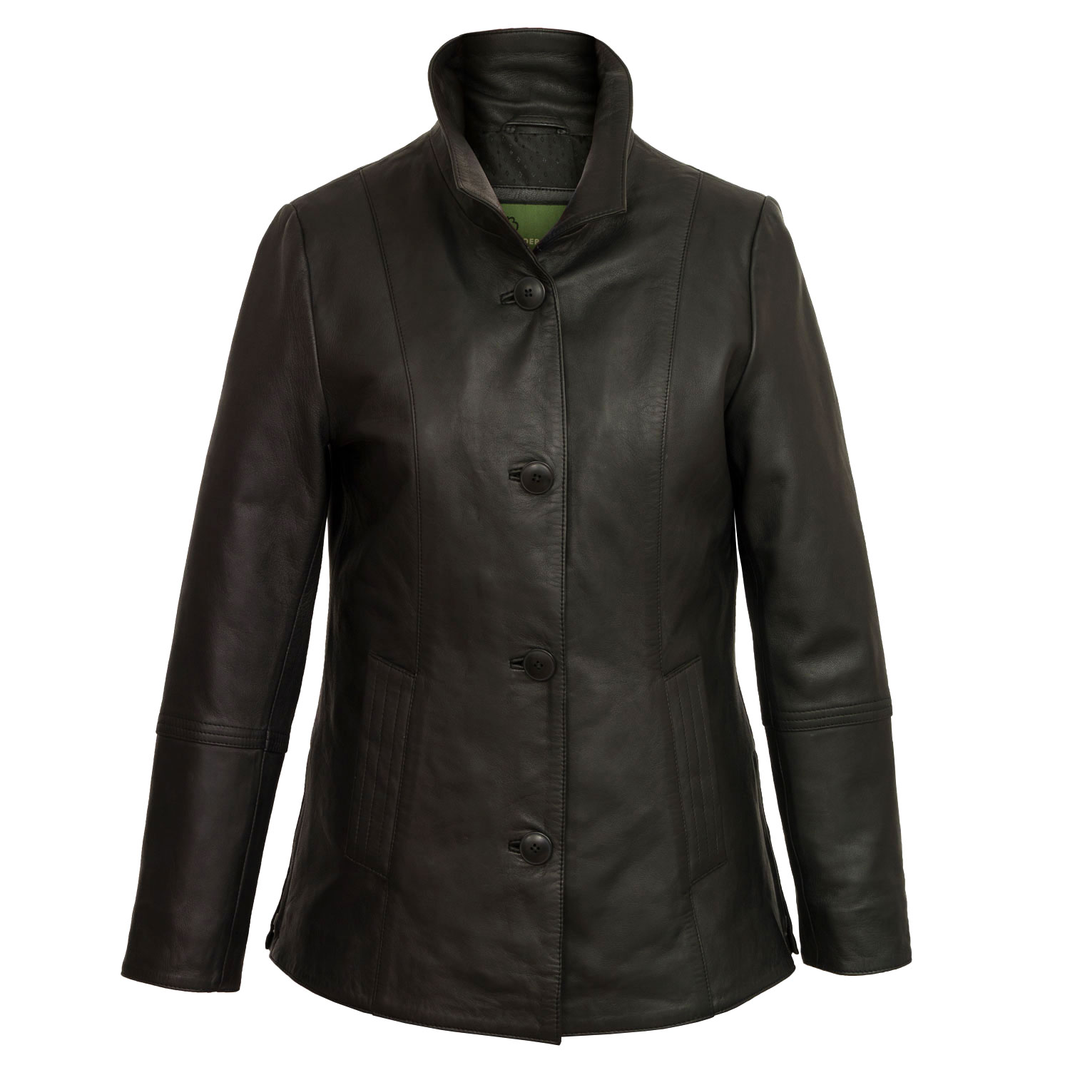 Womens black ladies leather jacket angie