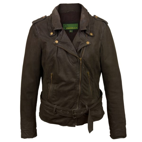 Women's Brown Leather Biker Jacket