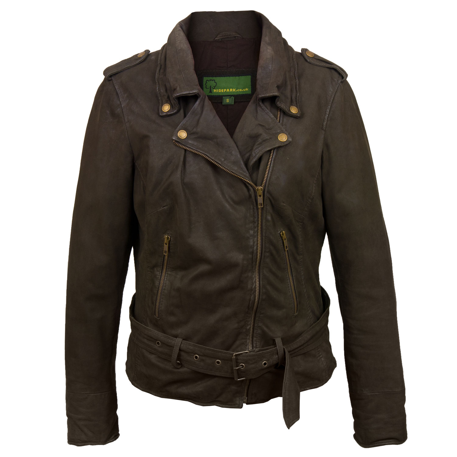 Women's Brown Leather Biker Jacket: Zoe