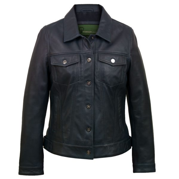 Ladies navy denim style leather jacket Tilly
