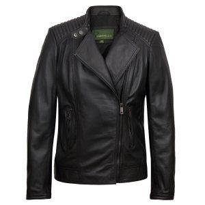 Women's Black Leather Biker Jacket: Britney