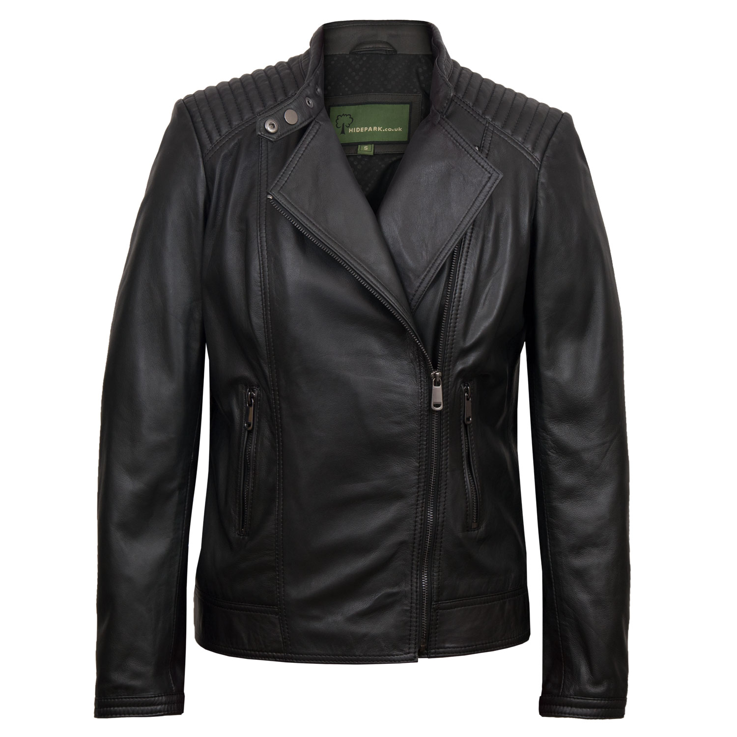 Women's Black Leather Biker Jacket: Britney