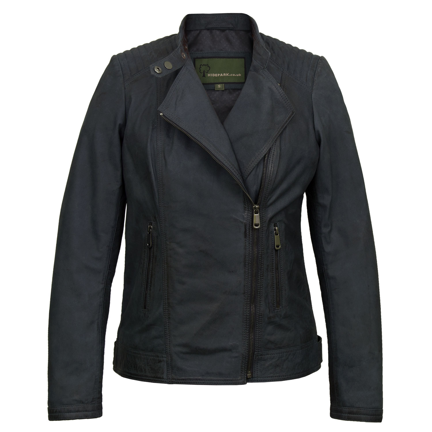 Women's Navy Leather Biker Jacket: Britney