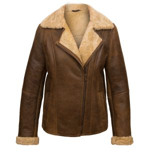 Ladies brown sheepskin flying jacket: Ella