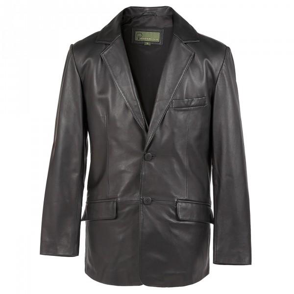 Gents Leather  button blazer black