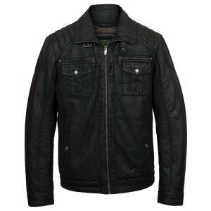 Men's Black Leather Jacket: Jenson