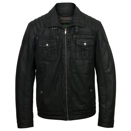 Men's Black Leather Jacket: Jenson