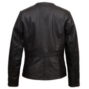 Women's Black leather collarless jacket : Jo