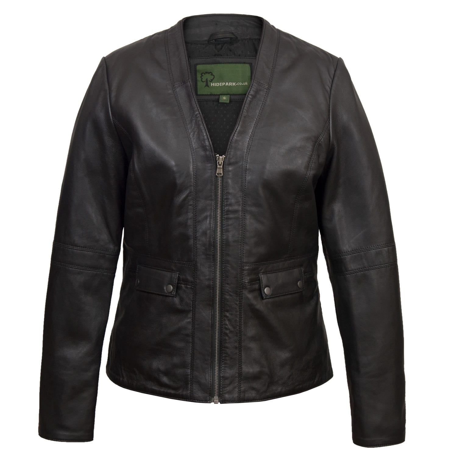 Women's Collarless Black Leather Jacket: Jo