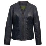 Women's Blue Leather Jacket: Jo