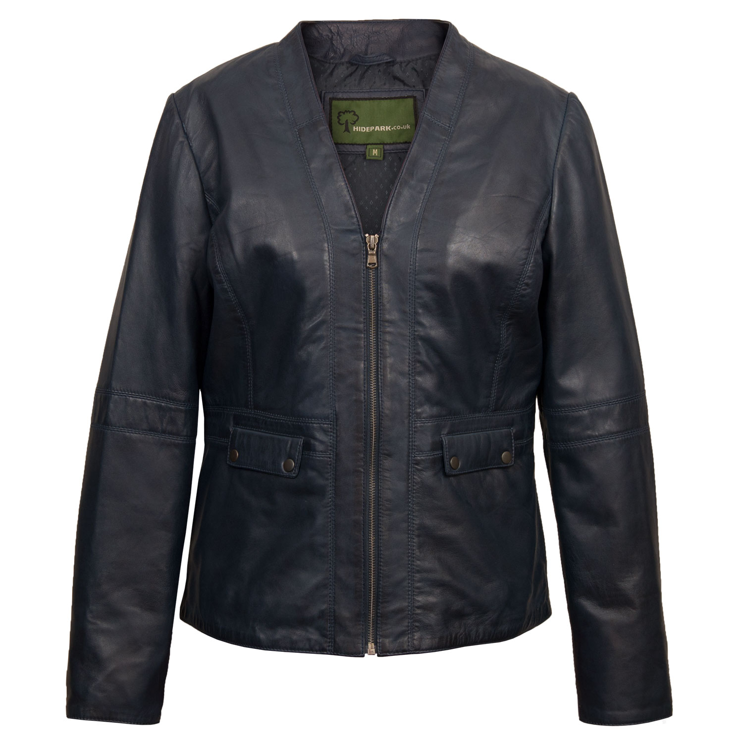 Women's Blue Leather Jacket: Jo