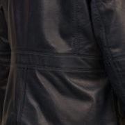 Women's Navy leather collarler jacket : Jo