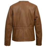 Women's Tan leather collarler jacket : Jo