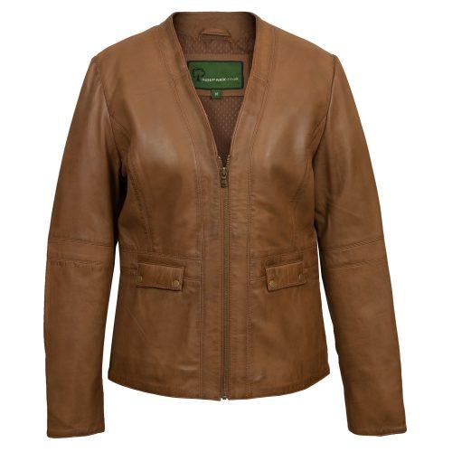 Women's Tan Leather Jacket: Jo