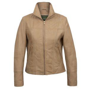 Women's Sand Leather Jacket: Niki