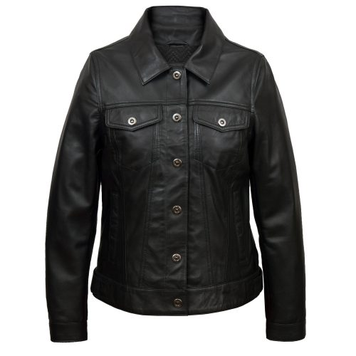Womens black denim style leather jacket: Tilly