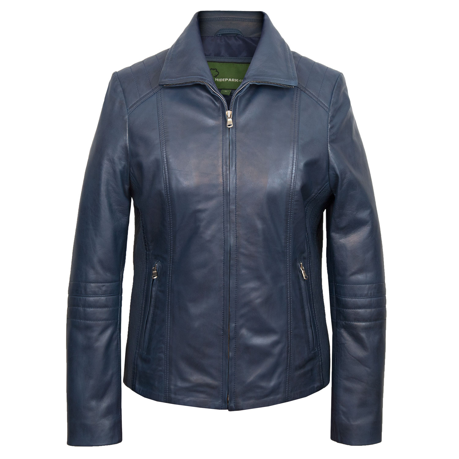 Women's Blue Leather Biker Jacket: Milly