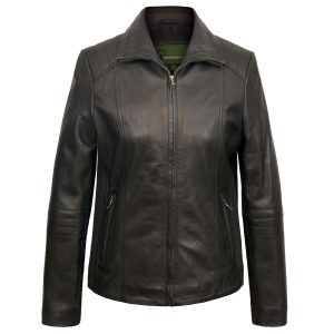 Women's Black Leather Biker Jacket: Milly