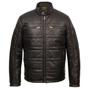 Gents black leather padded jacket : Paul