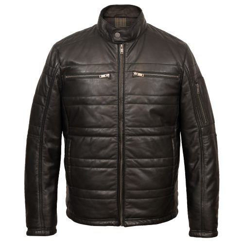 Gents black leather padded jacket : Paul