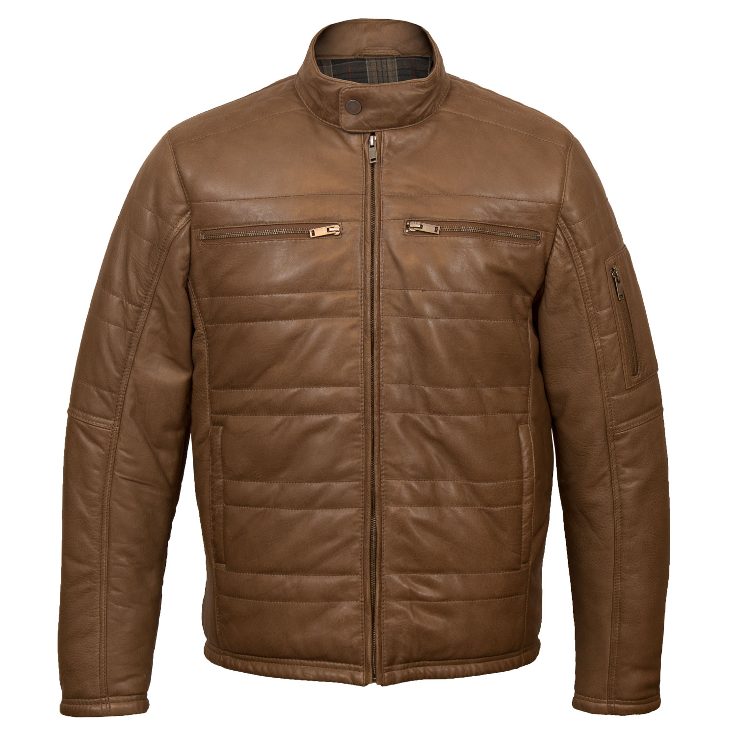 Mens Brown Padded Leather Jacket: Paul