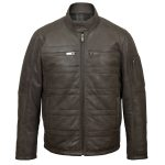 Gents Grey leather padded jacket : Perry