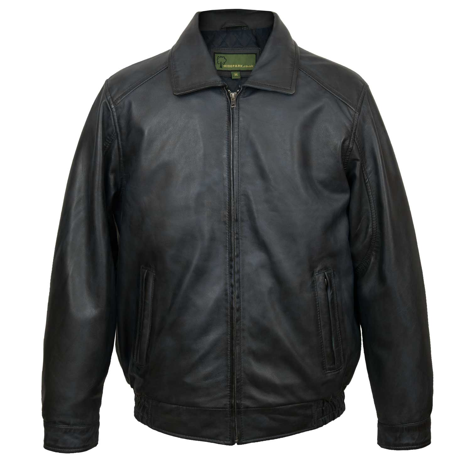 Men's Blue Leather Blouson Jacket: Will
