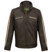 Mens brown leather biker jacket Lewis