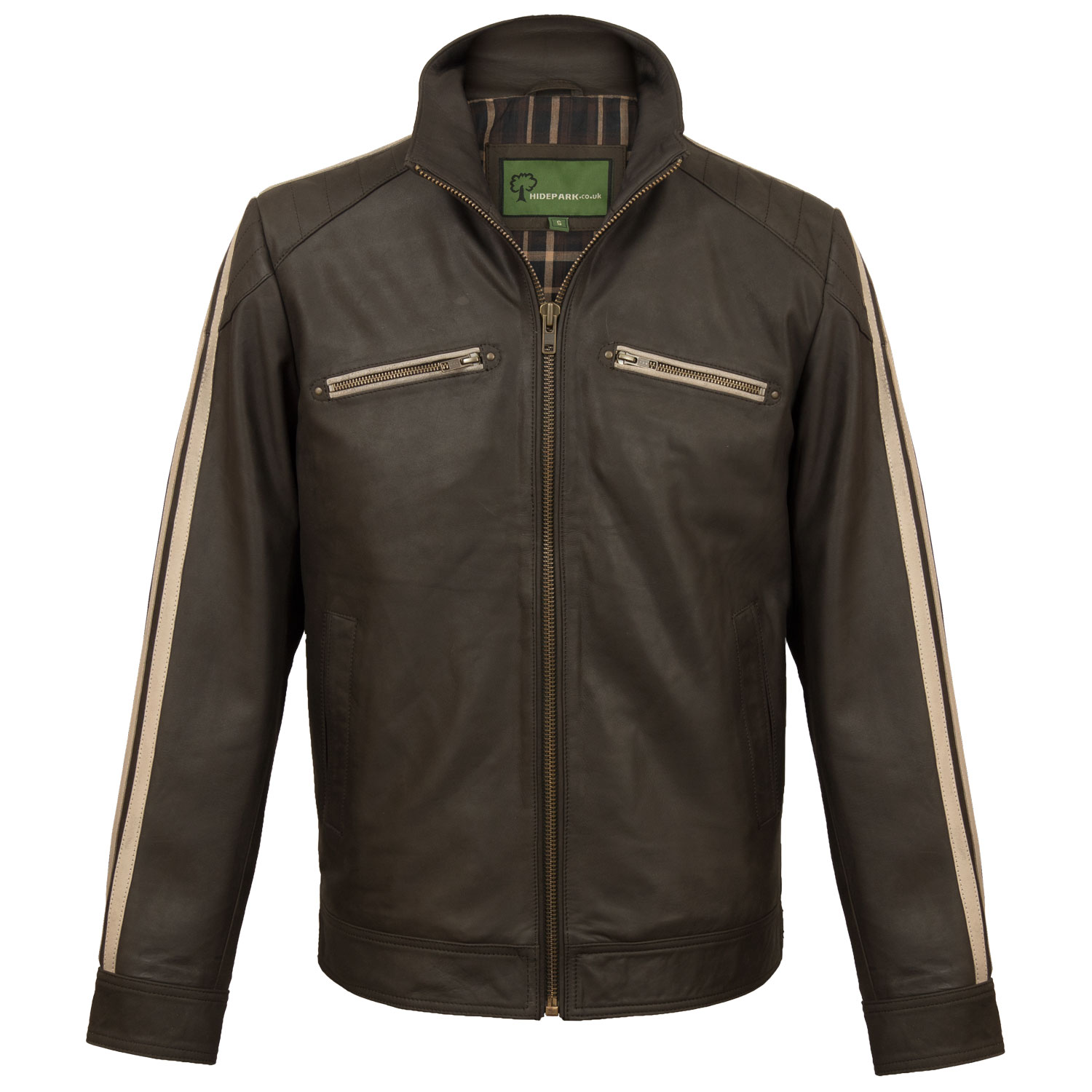 Mens brown leather biker jacket Lewis