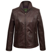 Ladies Milly Burgundy leather jacket