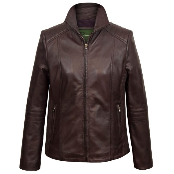Ladies Milly Burgundy leather jacket