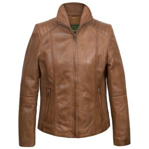 Ladies Milly Tan Leather JaCKET