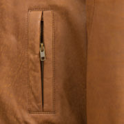 Mens Tan leather collarded jacket Will pocket detail