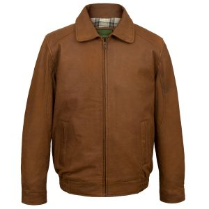 Mens Will Tan collared leather jacket