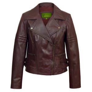 Ladies Burgundy leather biker jacket Jaki