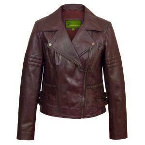 Ladies Burgundy leather biker jacket Jaki