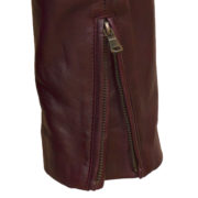 Ladies Burgundy leather biker jacket zip cuff detail Jaki