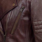 Ladies Burgundy leather jacket chest pocket detail jaki