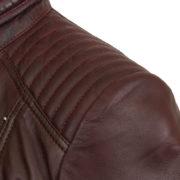 Ladies leather burgundy jacket shoulder detail Bonnie
