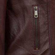 Ladies leather jacket pocket detail burgundy Bonnie