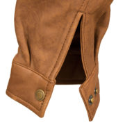 Mens Tan leather collared jacket Will cuff detail