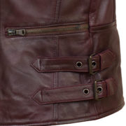 Ladies leather biker jacket burgundy fasten detail Jaki