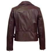 Ladies leather burgundy biker jacket Jaki