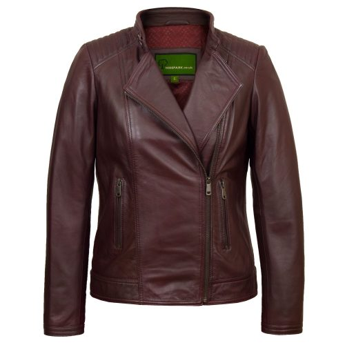 Shop <strong>Womens Burgundy </strong> Leather Biker Jacket